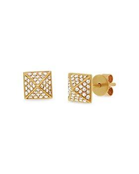 Moon & Meadow - 14K Yellow Gold Diamond Pyramid Stud Earrings - 100% Exclusive