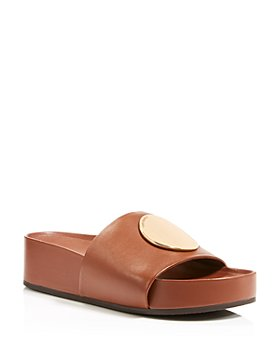Tory Burch - Women's Patos Gold Tone Medallion Leather Slide Sandals