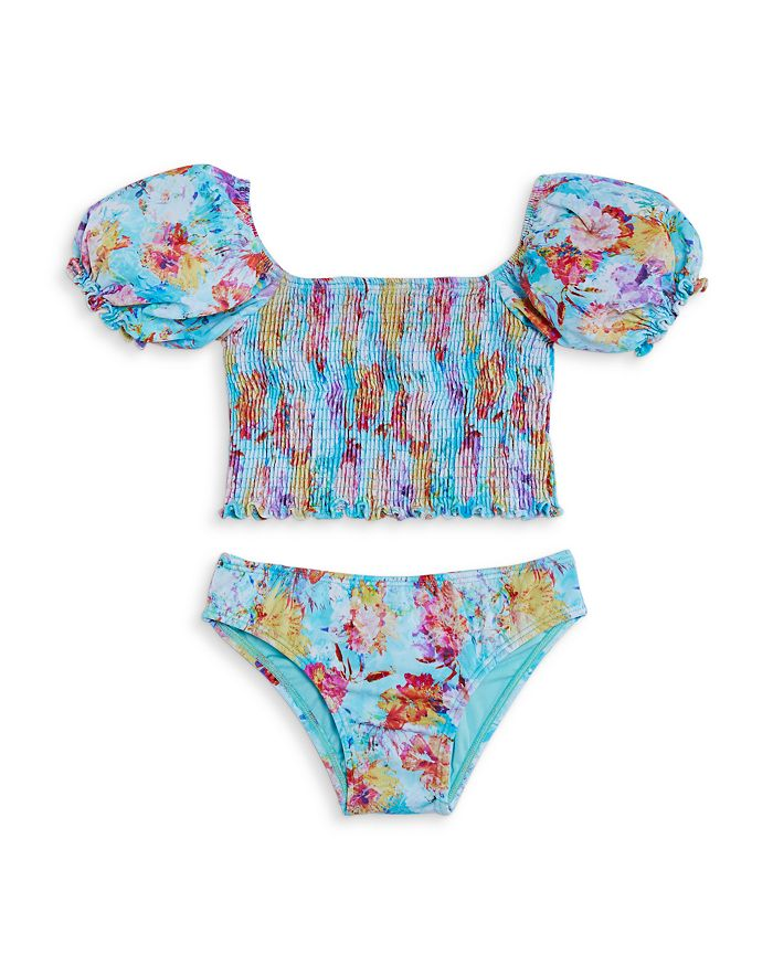 Peixoto Girls' Harper Puff Sleeve Two Piece Swimsuit - Little Kid, Big Kid In Sky Garden