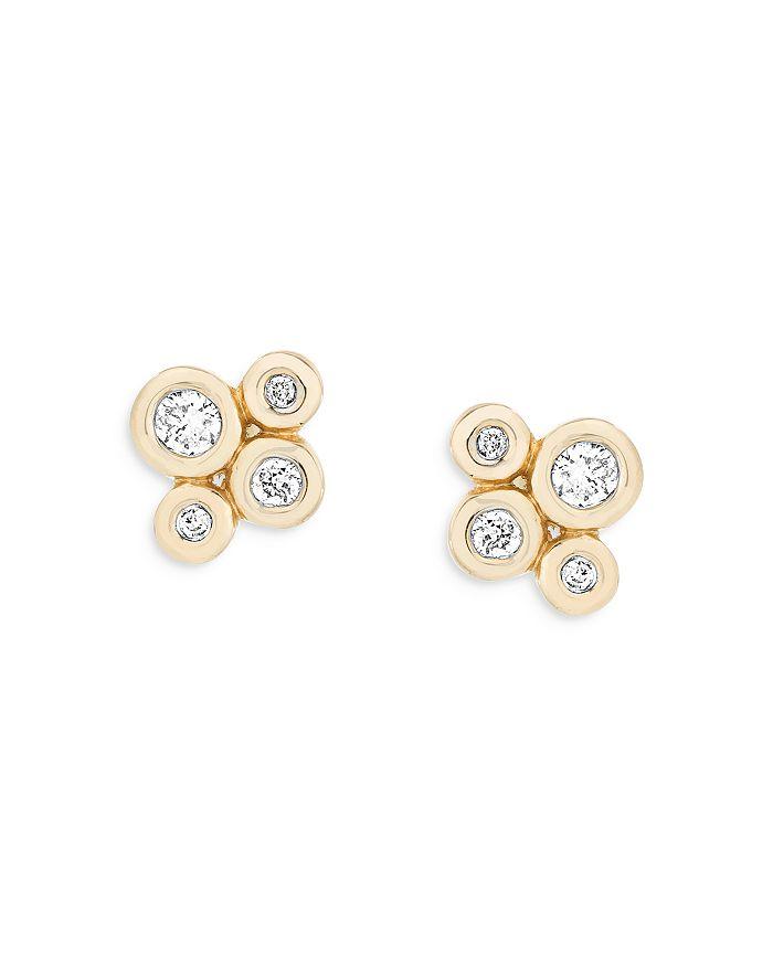 ADINA REYTER Earrings 14K YELLOW GOLD DIAMOND CLUSTER BARNACLES STUD EARRINGS