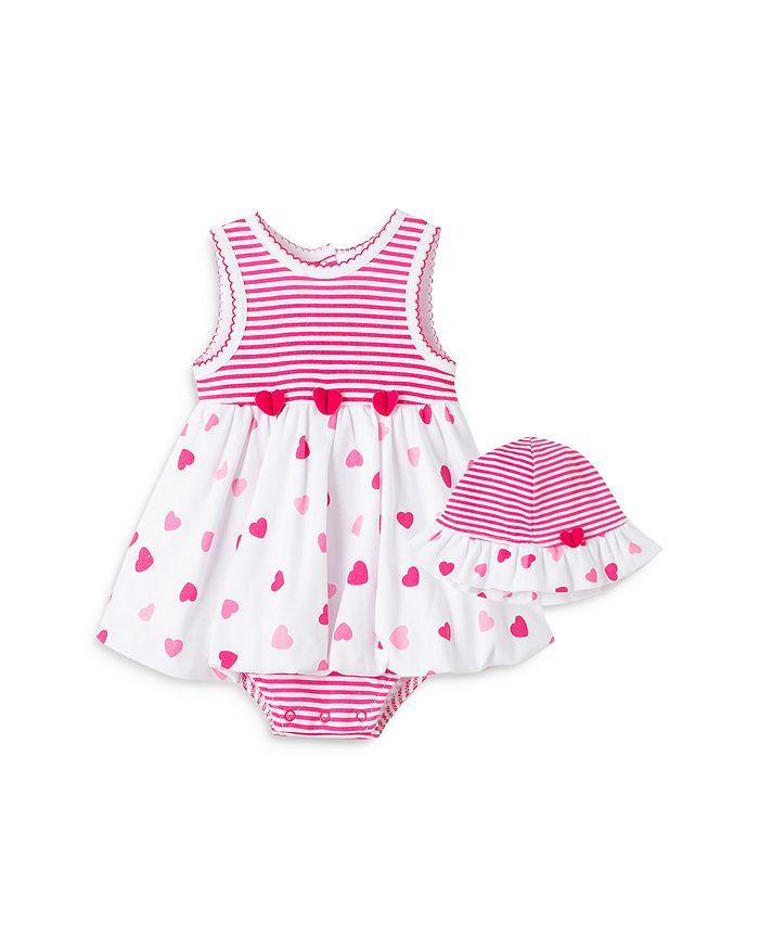 Little Me GIRLS' HEART POPOVER DRESS & HAT SET - BABY