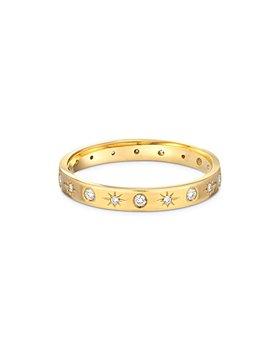 Zoe Lev - 14K Yellow Gold Diamond Starburst Ring