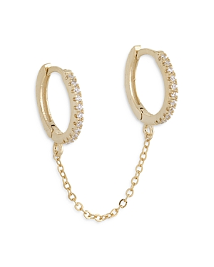 Adinas Jewels PAVE CHAINED DOUBLE HUGGIE HOOP EARRINGS