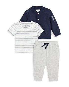 Miniclasix - Boys' Bomber Jacket, Stripe Tee & French Terry Jogger Set - Baby