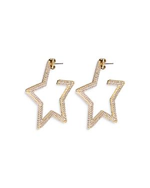 Luv Aj Pave Star Hoop Earrings