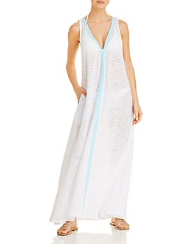 Pitusa - V Neck Maxi Swim Cover-Up Dress