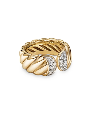 David Yurman 18K YELLOW GOLD SCULPTED CABLE RING WITH PAVE DIAMONDS