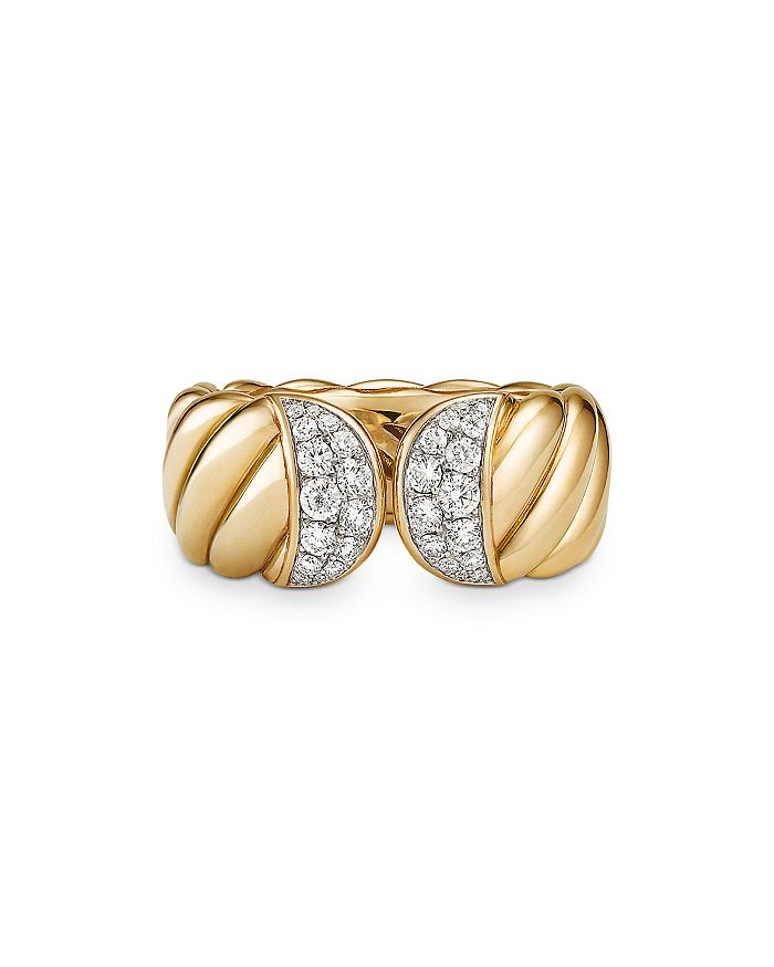 DAVID YURMAN Rings 18K YELLOW GOLD SCULPTED CABLE RING WITH PAVE DIAMONDS