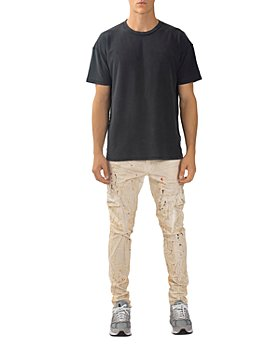 Purple Brand - Slim Fit Spattered Cargo Jeans in White Dirty