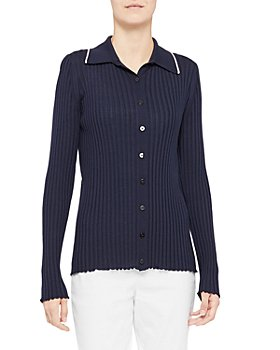Theory - Button Up Ribbed Contrast Trim Sweater