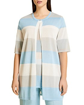 Marina Rinaldi - Malaga Striped Crepe Long Cardigan