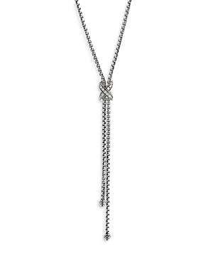 David Yurman STERLING SILVER PETITE X DIAMOND LARIAT NECKLACE, 17