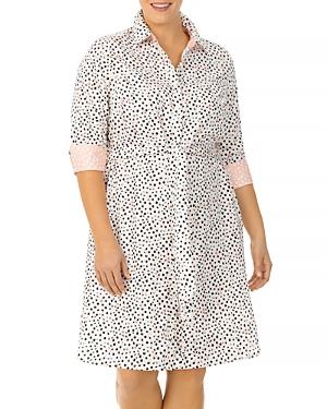 Foxcroft Plus Modern Dots Cotton Printed Shirt Dress