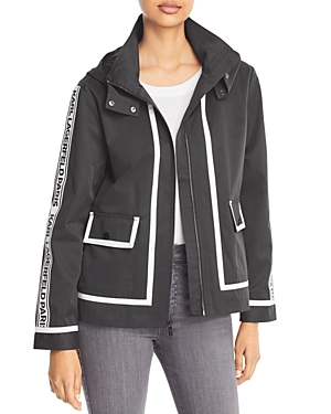 Karl Lagerfeld Paris Hooded Logo Trim Jacket