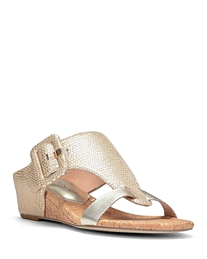 Women's Ofelia Pebbled Metallic Leather Wedge Sandals