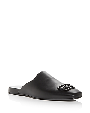 Balenciaga Men's Cosy Bb Leather Slippers