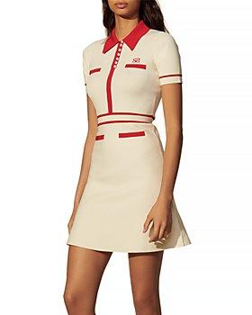Sandro - Irene Knit Contrast Stripe A Line Dress