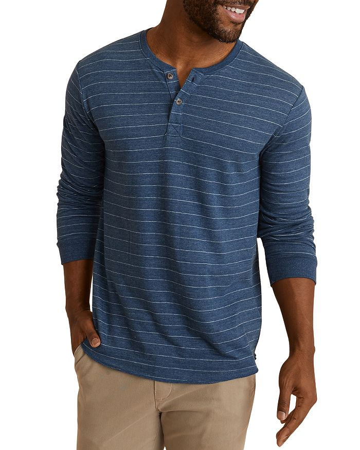 Marine Layer Knits DOUBLE KNIT STRIPED LONG SLEEVE HENLEY