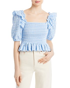AQUA - Gingham Square Neck Smocked Top - 100% Exclusive