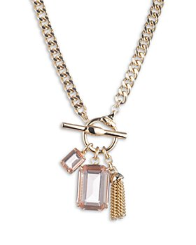 Ralph Lauren - Rose Gold-Tone Stone & Tassel Toggle Pendant Necklace, 17""