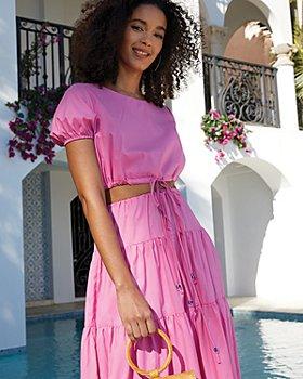 STAUD - Prato Crop Top & Lucca Tiered Skirt