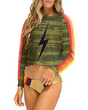 Camo Print Bolt Cropped Sweatshirt