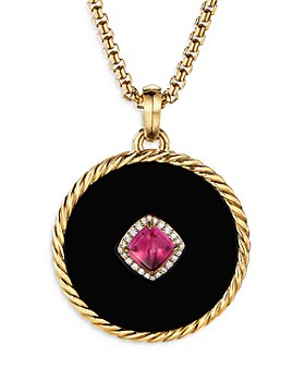 David Yurman - 18K Yellow Gold DY Elements® Disc Pendant with Black Onyx, Rubellite & Diamonds