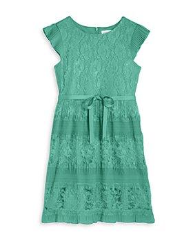 US Angels - Girls' Pleated Sleeve Lace Dress - Big Kid