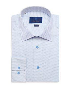 David Donahue - Cotton Micro Dot Trim Fit Dress Shirt