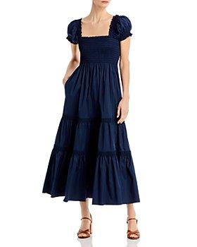 Tory Burch - Striped Smocked Midi Dress