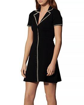 Sandro - Laureene Contrast Topstitched Dress
