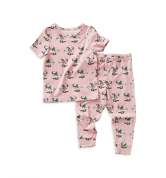Pink Chicken Girls' Chicken Print Pajama Set - Little Kid In Pink Chick