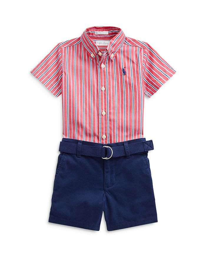 Ralph Lauren BOYS' STRIPED SHIRT & BELTED STRETCH CHINO SHORTS SET - BABY