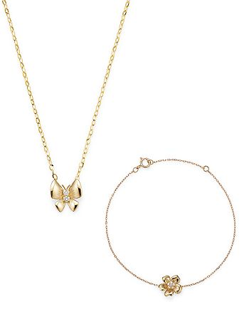 Bloomingdale's - Bloomingdale's Diamond Accent Butterfly Necklace in 14K Yellow Gold or Diamond Accent Flower Bracelet in 14K Yellow Gold for $149.99 - 100% Exclusive with any $150 online purchase!