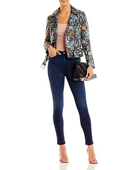 AQUA - Butterfly Print Leather Jacket - 100% Exclusive