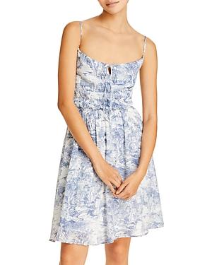Cotton Toile Print Mini Dress