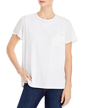 Karl Lagerfeld Mix Media Short Sleeve Shirt In White