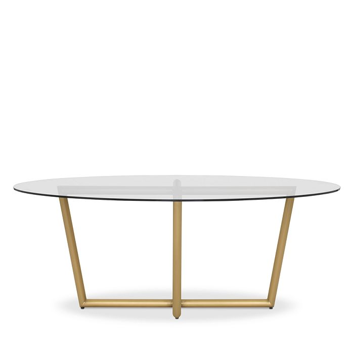 MITCHELL GOLD BOB WILLIAMS Furnitures MODERN OVAL TEMPERED GLASS DINING TABLE, 76 X 48