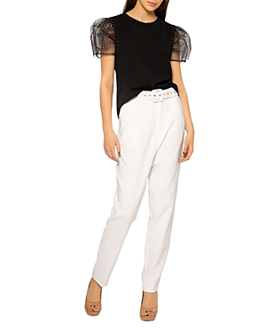 Mesh Dot Point and See Through Sleeve Top (45% off)
