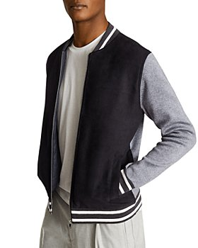 REISS - Charlie Woven and Knit Combo Baseball Jacket