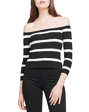 L Agence L'AGENCE CONNER STRIPED OFF-THE-SHOULDER SWEATER