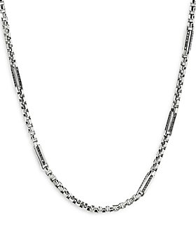 "David Yurman - Sterling Silver Streamline® Station Necklace with Black Diamonds, 24"""