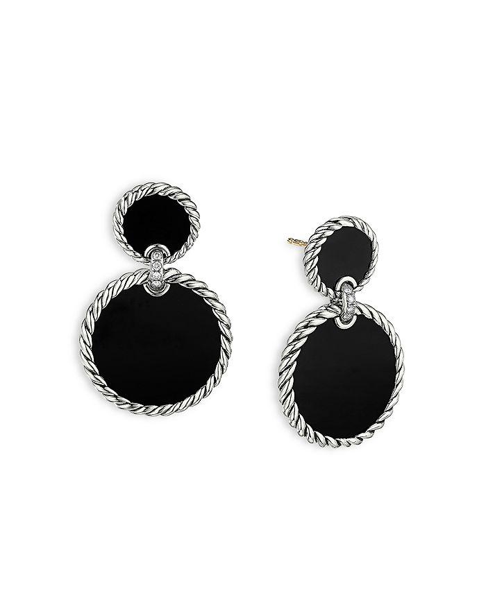 David Yurman - Sterling Silver DY Elements® Double Drop Earrings with Black Onyx & Diamonds