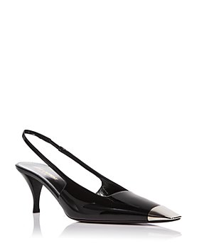 Saint Laurent - Women's Blade Metallic Cap Square Toe Slingback Leather Pumps
