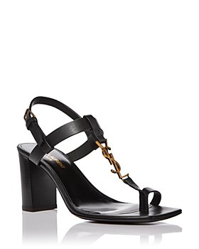 Saint Laurent - Women's Cassandra Square Toe Logo Leather Block Heel Sandals
