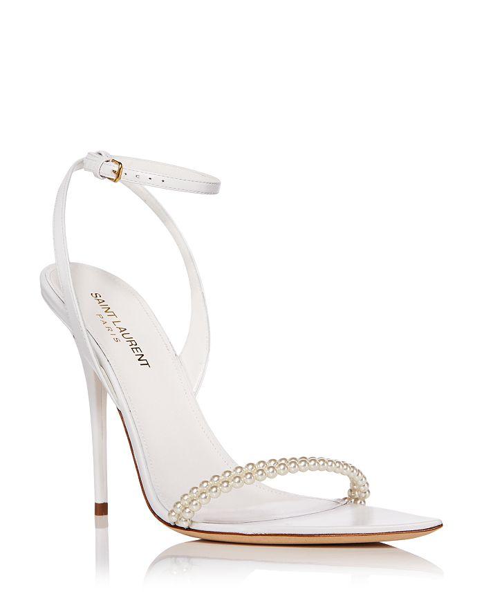 Saint Laurent - Women's Luna Pointed Toe Simulated Pearl High Heel Sandals