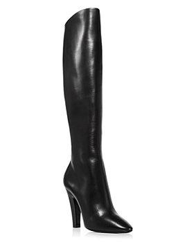 Saint Laurent - Women's Nero Almond Toe Tall Leather High Heel Boots
