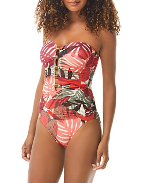 Printed Bandeau One Piece Swimsuit