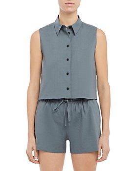 Theory - Shrunken Cropped Linen Shirt