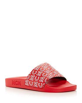MCM - Women's Diagonal Logo Slide Sandals